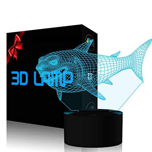 Preisvergleich Produktbild Hai 3D Optische Täuschung Lampe,  USB-Stromversorgung 7 Farben Blinken Berührungsschalter Schreibtisch LED Nachtlicht für Kinder Schlafzimmer Dekoration