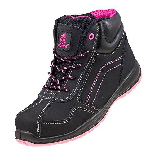 Knöchelhohe leichte Wanderschuhe für Damen, Sicherheitsstiefel, Schwarz/PinkSicherheitsarbeitsstiefel 116S1 mit Stahlkappe., 7.5 UK 41 EU, schwarz, 1