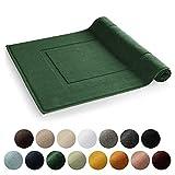 Blumtal 2er Set Badvorleger, Badematte - Weicher Duschvorleger, 100% Baumwolle, Oeko-Tex Zertifiziert, 51x79 cm, Dark Green