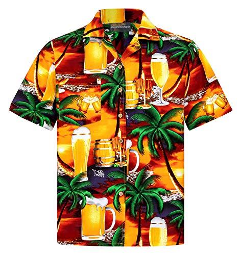 Hawaiihemdshop Hawaiihemd | Herren | Baumwolle | Größe S - 8XL | Alkohol | Bier | Cocktails | Mehrere Versionen | Kurzarm | Hawaiihemden | Beach | Aloha | Kokosnuss-Knöpfe | Hawaii Hemd