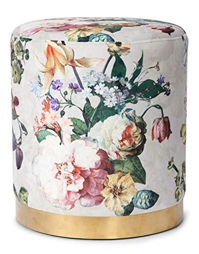 ESSENZA Pouf Fleur Blumen Pfingstrosen Tulpen Polyester Grau, Rund ø40 cm