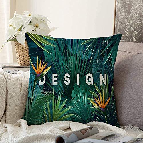 N\A Fundas Decorativas para Cojines Funda de cojín Trópico Hermoso árbol primaveral Tropical Negro Plantas de la Selva Botánica Hawaiana Naturaleza Gráfico Aloha Funda de Almohada para sofá