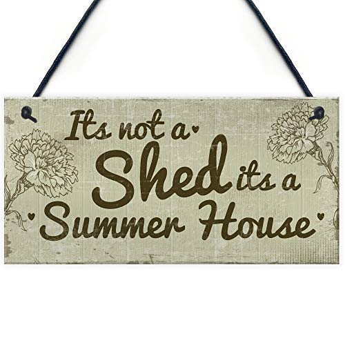 SIGNS Funny Shed It's Not A Shed, It's A Summer House Novelty Garden Shed Plaque Friendship Gift