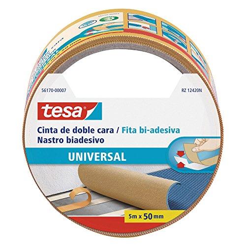 Tesa Nastri Biadesivo Universale - Biadesivo Versatile per il Fissaggio di Tappeti, per Lavori Manuali e Decorazione di Interni - 5 m x 50 mm