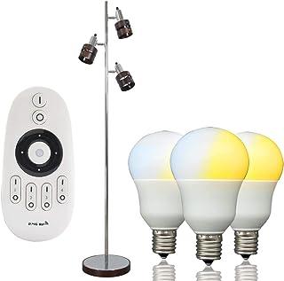 共同照明 フロアライト 3灯 フロアスタンドライト 調光 調色 LED電球3個付き E17 40W形(GT-DJ01B-5WT)リモコン対応 フロアランプ 間接照明 電気スタンド LEDフロア仕事 読書ランプ 室内ライト 組立式 led 照明灯...