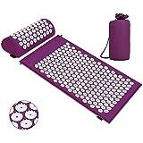 Esterilla de acupresión, Colchoneta de masaje con almohada para aliviar el dolor corporal y el estrés Kit (Púrpura)