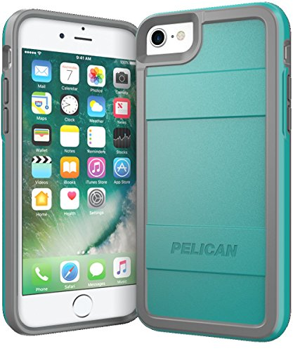 Pelican iPhone Case for 6,7,8 and SE, Protector Series - Military Grade Drop Tested, TPU, Polycarbonate Case for iPhone 6, iPhone 7, iPhone 8, iPhone SE (Grey/Aqua) (C23000-000A-AQGY)