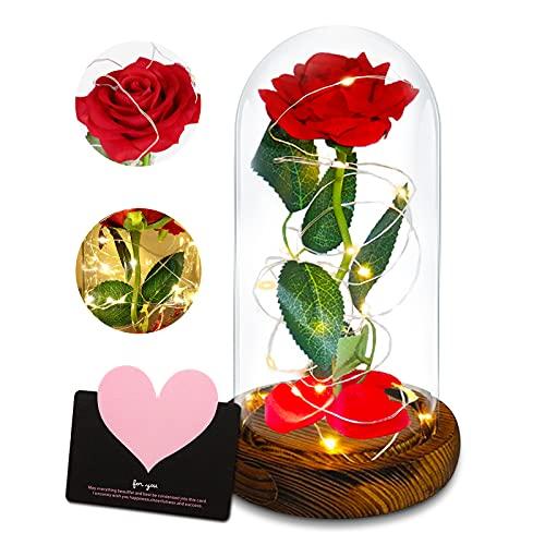 Rosa Eterna,Rosas Bella y Bestia,La Bella y La Bestia Rosa Encantada,Rosa Roja con Cúpula De Cristal,para La Decoración del Hogar,Bodas,Cumpleaños Rosa Bella y Bestia