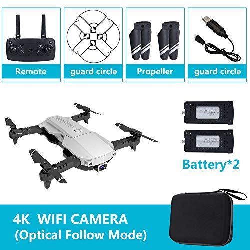 Absir Drone x pro 5G Selfie WIFI FPV with 4K HD Dual Camera Foldable RC Quadcopter 4K Silver 2 battery