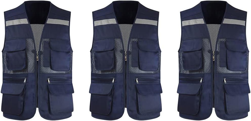 Be super welcome Creative Reflective Mail order Vest High Zipper Mesh Multifunctional Pocket