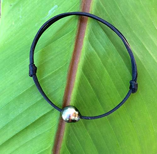 Perle de Tahiti bracelet adaptable cuir australien bracelet unisexe cuir coulissant perle de culture de Tahiti