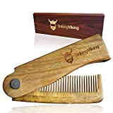 Folding Wooden Comb by Striking Viking - Men's Hair, Beard, and Mustache Styling Comb - Pocket Sized, Heavy Duty, Sandal Wood Comb for Every Day Grooming - Use Dry or with Balms and Oils