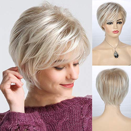 Women Short Layered Blonde Wigs Synthetic Heat Resistant Halloween Cosplay Pixie Costume Wig with Wig Cap