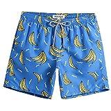 MaaMgic Short de Bain Homme Plage Tropical Séchage Rapide Maillot de Bain avec Poches pour Vacances en Été Pas Cher a La Mode Bleu de mer Banane L