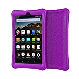 Creazy Protective Shell Skin Silicone Case Cover For Amazon Kindle Fire HD 8 2016/2017 (Purple)