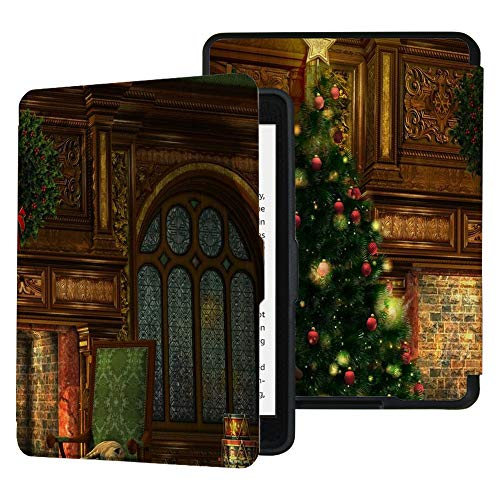 QIYI Case for Kindle Paperwhite Prior to 2018 Water-Safe Cover Fits Old Generation PU Leather Cases Kids Ereader Accessories Protective Covers Shell Lightweight Case - Christmas Fireplace