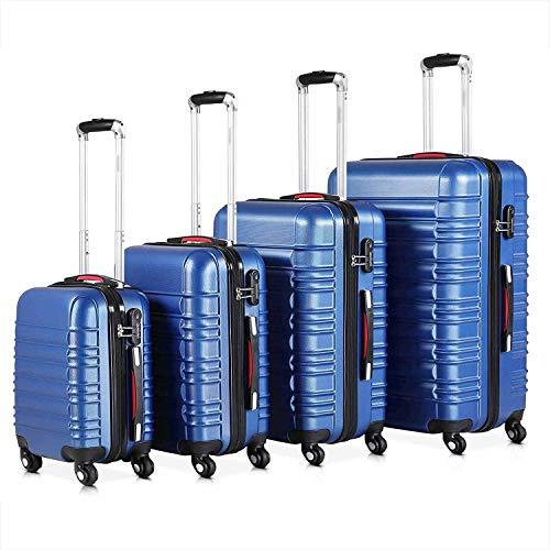 4 Wheels 360 Degree Baggage Telescopic Handle ABS Plastic Lock Password Combination Padlock Number Luggage Box,Blue