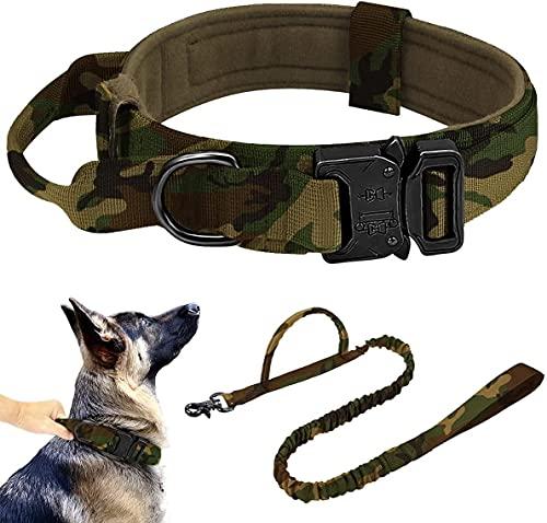 Collar para perros ancho K9, collar táctico para perros con asa, correa ajustable de nailon para mascotas (XL: cuello 50 – 62 cm, verde camuflaje)