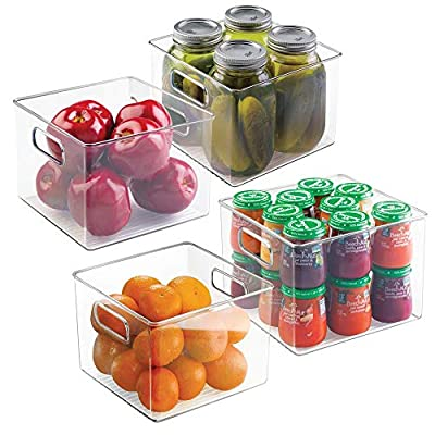 "mDesign Kitchen Pantry and Cabinet Storage and Organization Bin - Pack of 4, 8"" x 8"" x 6"", Clear by GANILU"