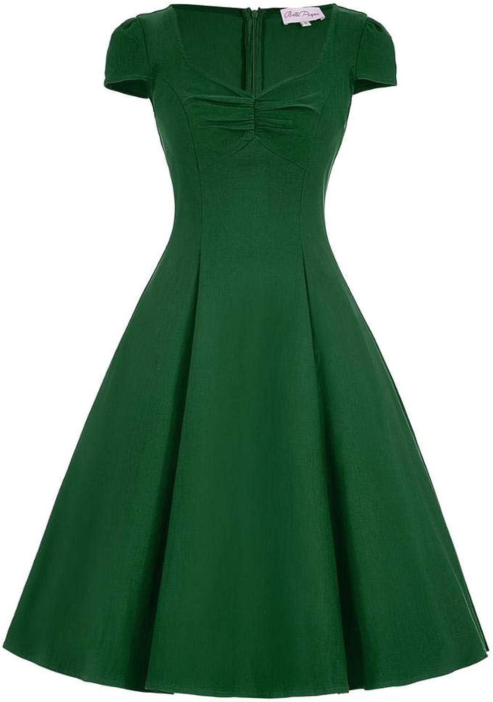 Aignse Dress Womens Summer Big Size Green Party Casual Dress Short Sleeve High Waist