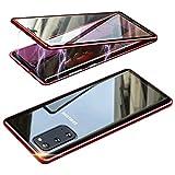 Funda para Samsung Galaxy S20+/S20 Plus Adsorption Magnetica, 360° Protección Completa del Cuerpo Case Cover[Marco De Metal + Vidrio Templado Transparente Frontal Y Posterior]para Galaxy S20+,Rojo