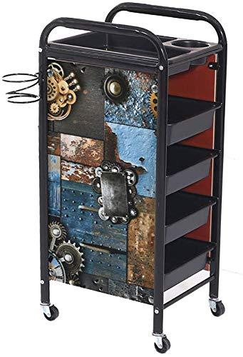 Retro kapper, kruiwagen, opbergmand met 5/4 niveaus voor het kleuren van beauty, haardroger Salon met 4/3 laden voor auto's, gereedschap, zwart, 3 lagen elise, blue (Zwart) - 236056