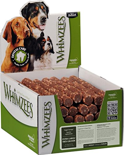 Whimzees Paragon Pet Products USA Veggie Sausage Dental Treat- Brown Xl/30 Piece