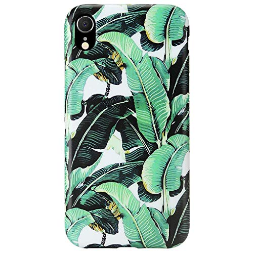 GOLINK Case for iPhone XR, Matte Finish Floral Series Slim-Fit Ultra-Thin Anti-Scratch Shock Proof Dust Proof Anti-Finger Print TPU Gel Case for iPhone XR 6.1 inch(Banana Leaves)