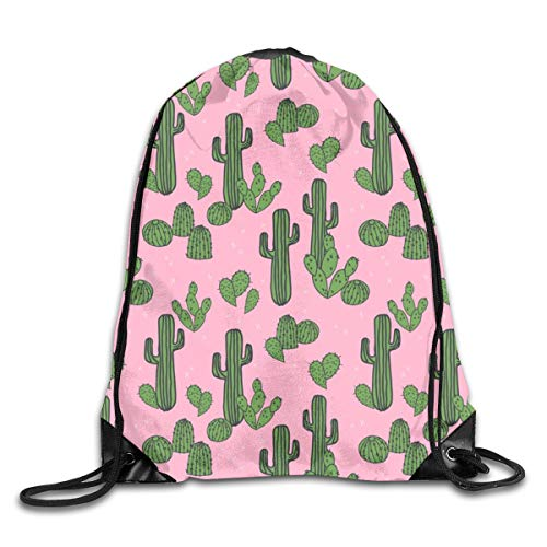 Cactus Pink Cactus Cute Cactus Plants Desert Southwest Cacti Drawstring Gym Bag for Women and Men Polyester Gym Sack String Backpack for Sport Workout, School, Travel, Books 14.17 X 16.9 inch
