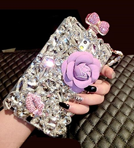 Omio for iPhone 11 Diamond Rhinestone Case Glitter Bling Crystal Perfume Bottle Bowknot Flower Lip Luxury Cover Case with Shoulder Strap Chain Charming Cute Handbag Shell for iPhone 11 Case Purple
