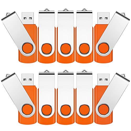 Memoria USB de 4 GB, 10 unidades, USB 2.0, giratoria, 360°, minicusora, con tapa de metal, para ordenador, negocio, regalo (naranja)