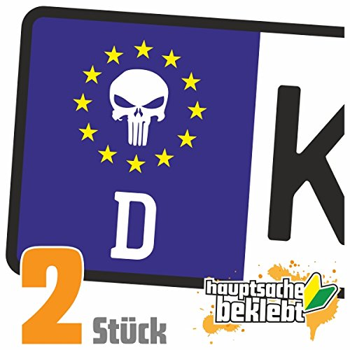 Totenkopf - Todessymbol Kennzeichen Aufkleber Sticker Nummernschild - IN 15 FARBEN