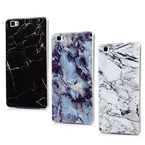 Mavis's Diary 3X Funda Silicona para Huawei P8 Lite 2015/2016,Gel TPU Ultra Slim Suave Cover Carcasa Case Bumper Shock-Absorción y Anti-Arañazos - Modelo de mármol,Azul, Blanco, Negro