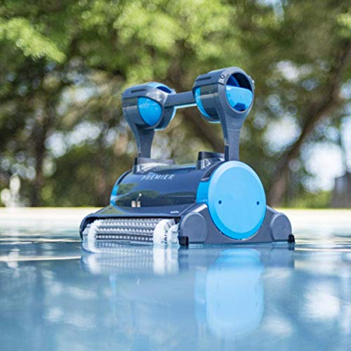 XKRSBS Premier Robotic Pool Cleaner with Powerful Dual Scrubbing Brushes and Multiple Filter Options, Ideal for In-ground Swimming Pools up to 50 Feet.