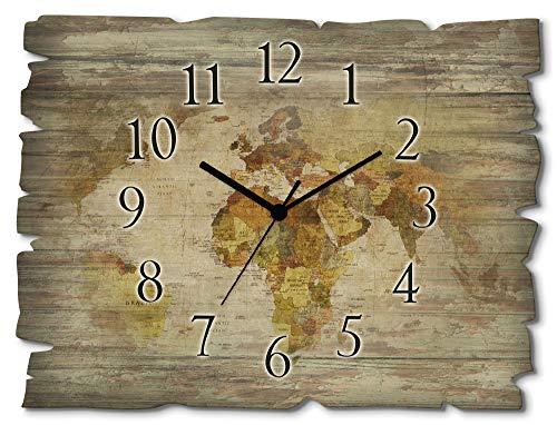 Artland Wanduhr ohne Tickgeräusche aus Holz Funkuhr 40x30 cm Rechteckig Lautlos Weltkarte Kontinente Länder Retro Vintage Originell T9NI