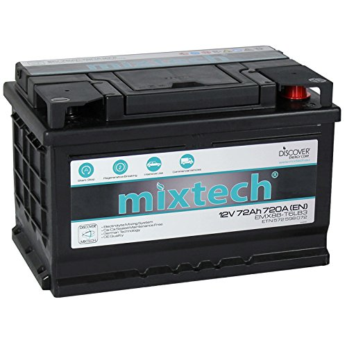 Preisvergleich Produktbild mixtech 12V Autobatterie 72Ah Nass Starterbatterie mit 360 Grad Elektrolyt-Durchmischung KFZ-Batterie in 9 Varianten: 48Ah - 105Ah (wartungsfrei)