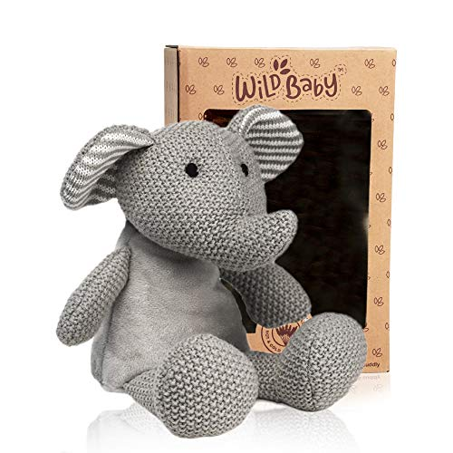 WILD BABY Elephant Stuffed Animal - Heatable Microwavable Plush Pal with Aromatherapy Lavender Scent for Kids - 12'