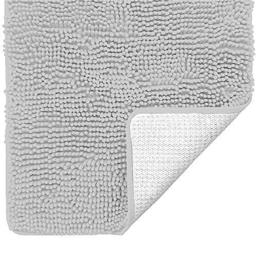 Gorilla Grip Original Luxury Chenille Bathroom Rug Mat, Extra Soft and Absorbent Shaggy Rugs, Machine Washable, Quick Dry Bathmat, Plush Carpet for Tub, Shower Bath Room Floor Mats, 17x24, Light Gray