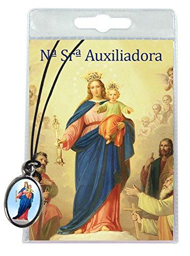 Medalla María Auxiliadora con cordón y oración en portugués