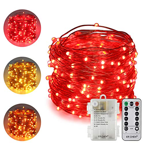 ErChen Battery Operated Dual-Color Led String Lights, 66FT 200 LEDs Color Changing Dimmable 8 Modes Copper Wire Fairy Lights with Remote Timer for Indoor Outdoor Patio (Warm White, Red)