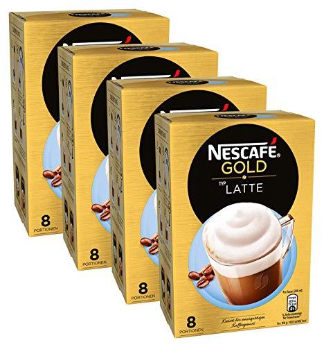 NESCAFÉ GOLD Typ Latte, löslicher Bohnenkaffee aus erlesenen Kaffeebohnen, koffeinhaltig, mit extra viel Schaum, 4er Pack (à 8 x 18 g Sticks)