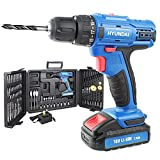 Hyundai 18V Li-Ion Cordless Drill, Screwdriver, 1 Year Warranty, 1.5Ah Rechargeable Battery, Includes 89 Drill Bit Accessories & Carry Case, 2 Speed, Blue