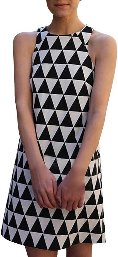 Proumy Vestido de Trabajo Verano Mujer Estampado Triángulos ...