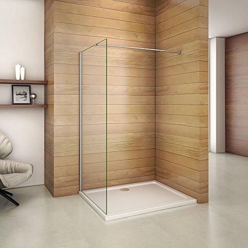 800x1950x6mm paroi de douche walk in verre anticalcaire avec barre fixation la pince 360° 900mm