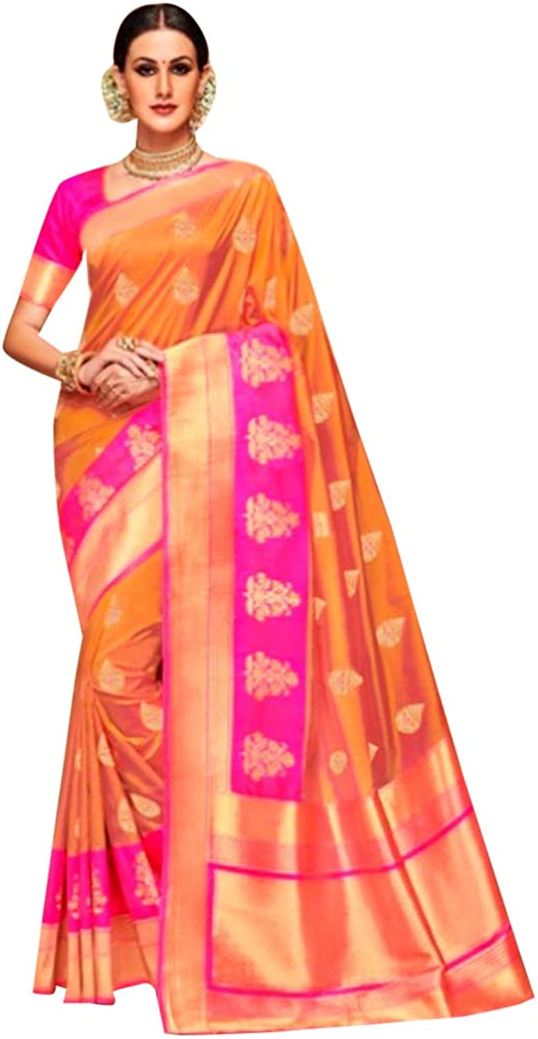 Festive offer Indian Wedding Ethnic wear Saree for women Printed Silk Jacquard (Unstitched Blouse piece) Party wear 7121 1