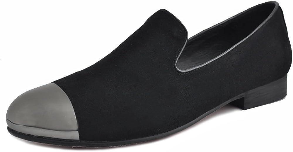 Fulinken Black 5 ☆ very popular Men Max 63% OFF Leather Slip on Shoes Loafers Rhinestone