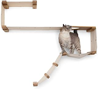 CatastrophiCreations Cat Play Set Wall Mounted Lounge, Climb, Lounge and Play Furniture Cat Tree Shelves for Pets, Natural...
