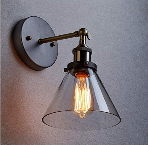 Kronleuchter Beleuchtung Wandleuchte Vintage Glas Trichter E27 Wandlampe Messing (ohne Birne)