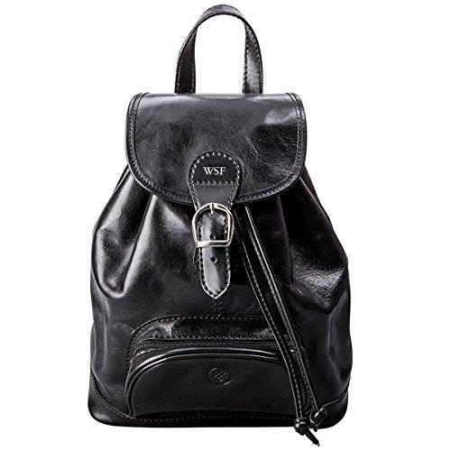 Maxwell-Scott Personalisierter Italienischer Damen Leder Rucksack Sparano in Schwarz