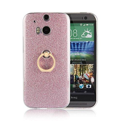 pinlu® Etui Schutzhülle Für HTC One M8 Soft Silikon TPU Ultra Thin Protective Cover Glitzer Rück mit Abnehmbarer Boden Skin und Ring-Schnalle Design Rosa